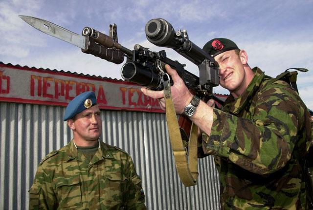 British soldier with 1PN58 scope on AK74
